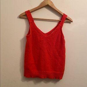 Madewell solid orange knit sleeveless top